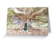 Little Hobbit under the ancient fig tree. Greeting Card