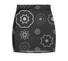 Black Mandala Repeat Gruff Mini Skirt