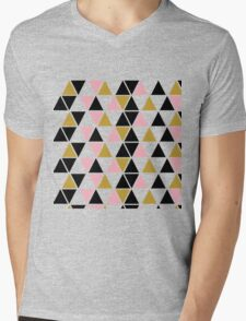 Pink, Gold, & Black Triangle Mens V-Neck T-Shirt