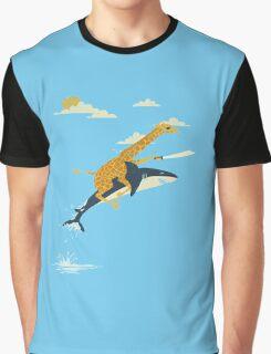 Giraffe riding shark shower curtain Graphic T-Shirt