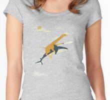 Giraffe riding shark shower curtain Women's Fitted Scoop T-Shirt