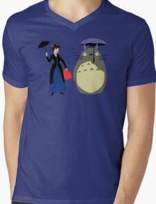Mary Poppin and totoro umbrela Mens V-Neck T-Shirt