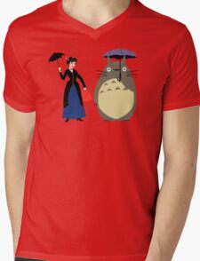 Mary Poppin and totoro umbrela Mens V-Neck T-Shirt