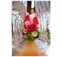 Roses In Between Champagne Glasses Poster