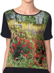 Garden with many colorful flowers. Chiffon Top