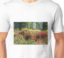 Garden with many colorful flowers. Unisex T-Shirt