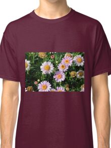 Beautiful light pink flowers natural background. Classic T-Shirt
