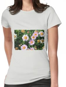 Beautiful light pink flowers natural background. Womens Fitted T-Shirt