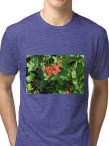 Orange flowers between green leaves. Tri-blend T-Shirt