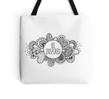 Be Inspired Doodle Artwork Black & White Tote Bag