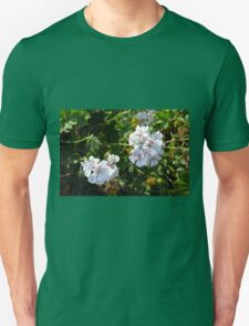 White flowers in the green bush. T-Shirt