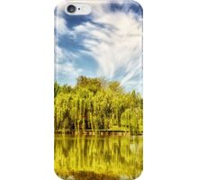 Surreal park with green trees reflected in the water. iPhone Case/Skin