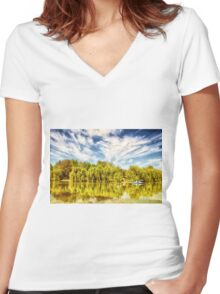 Surreal park with green trees reflected in the water. Women's Fitted V-Neck T-Shirt