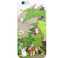 Totoro in garden iPhone Case/Skin