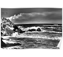 Black and White Waves Crashing into the Beach in HDR Poster