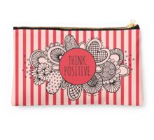 Think Positive Doodle Artwork with Red and Pink Stripes Studio Pouch
