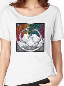 Rainbow Heart tree mandala Women's Relaxed Fit T-Shirt