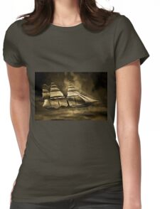 An old style digital painting of an Early American Sailing Ship/Paddle Steamer Womens Fitted T-Shirt