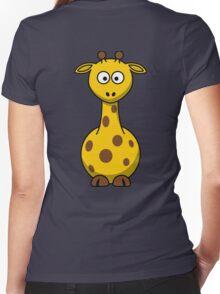 Cute Giraffe Women's Fitted V-Neck T-Shirt