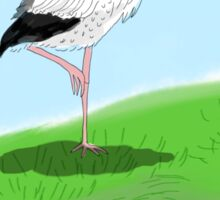 a stork on the hill Sticker