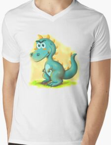 Cute Dino Cartoon Character Mens V-Neck T-Shirt
