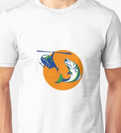 Barramundi Heli Fishing Sun Retro Unisex T-Shirt