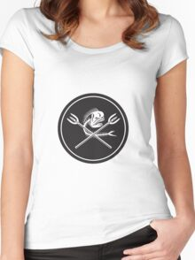 Skull Mahi Mahi Dolphin Fish Crossed Spears Circle Retro Women's Fitted Scoop T-Shirt