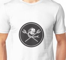 Skull Mahi Mahi Dolphin Fish Crossed Spears Circle Retro Unisex T-Shirt