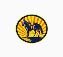 Horse Western Saddle Oval Woodcut T-Shirt