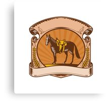 Horse Western Saddle Scroll Woodcut Canvas Print