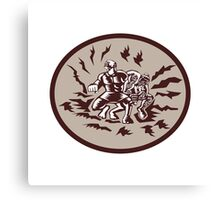Tiitii Wrestling God of Earthquake Circle Woodcut Canvas Print