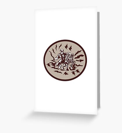 Tiitii Wrestling God of Earthquake Circle Woodcut Greeting Card