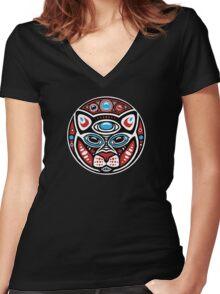 Cat Shamanic Animal Emblem Women's Fitted V-Neck T-Shirt