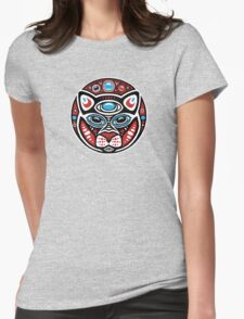 Cat Shamanic Animal Emblem Womens Fitted T-Shirt