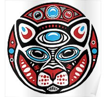 Cat Shamanic Animal Emblem Poster