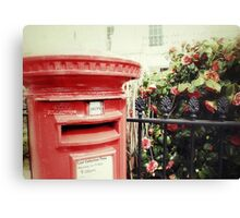 Postbox and Camellias Canvas Print