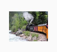 Steam train engine and river, Colorado, USA Unisex T-Shirt