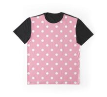 Polka Dots, Spots (Dotted Pattern) - Pink White Graphic T-Shirt