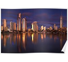 Twilight Reflection - Surfers Paradise Poster