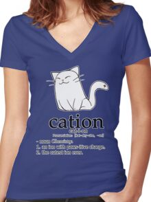Cat-ion science puns Women's Fitted V-Neck T-Shirt