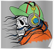 Colorful Illustration of Skull with Headphones Poster