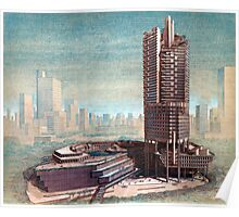 Vintage Singapore Architectural Drawing Poster