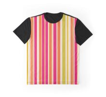 Stripes (Parallel Lines) - Orange Pink Green White Graphic T-Shirt
