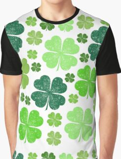 Saint Patrick's Day, Clovers - Green White Graphic T-Shirt