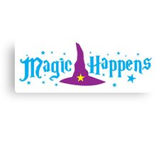 Magic Happens with witches hat Canvas Print
