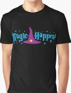 Magic Happens with witches hat Graphic T-Shirt