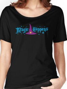 Magic Happens with witches hat Women's Relaxed Fit T-Shirt