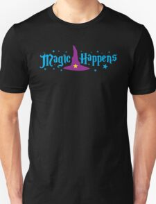 Magic Happens with witches hat Unisex T-Shirt