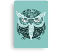 Wise Old Owl Says (in Green) Canvas Print