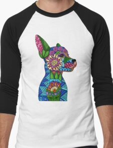Folk Art Puppy Men's Baseball ¾ T-Shirt